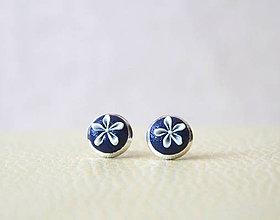 Náušnice - Folklórky mini modré - 5464121_