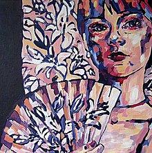 Obrazy - Tvoj ľaliový vejár - obraz na stenu, maľba, originál - 5463327_