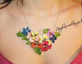 Náhrdelníky - kvetinový náhrdelník, folk garden flovers 3 - 5462931_