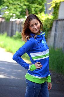 Mikiny - Mikina modrá s pruhy-vyberte si svou barvu! - 5469825_