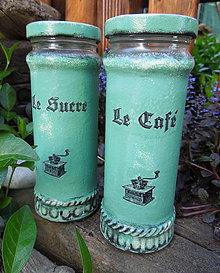 """Nádoby - Poháre """"Le Café & Le Sucre"""" v tyrkysovom - 5469190_"""