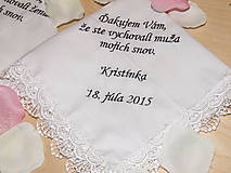 Darčeky pre svadobčanov - Svadobné vreckovky - 5469765_