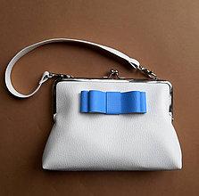 Kabelky - biela s modrou mašľou - 5466564_