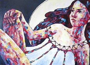 Obrazy - Luna - obraz na stenu, maľba, originál - 5471540_