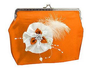 Taštičky - Saténová spoločenská kabelka oranžovo biela 1185 - 5473201_