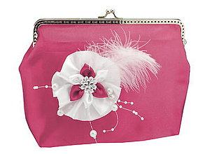 Kabelky - Saténová spoločenská kabelka růžovo biela 1185A - 5473237_