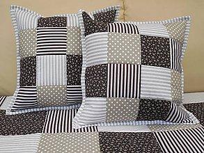 Úžitkový textil - vankúš 40x40 cm  bežovo čokoládová - 5472894_