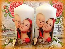 Svietidlá a sviečky - sviečka s vlastnou fotkou a srdieckami - 5470189_
