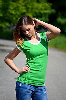 Tričká - Zelené tričko bílý lem-mnoho barevných variant!! - 5469897_