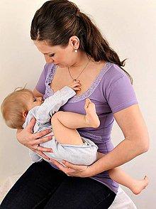 Tehotenské oblečenie - 3v1 tričko pre tehotné, dojčiace, nedojčiace - kr. rukav, s čipkou - 76 farieb - 5471054_