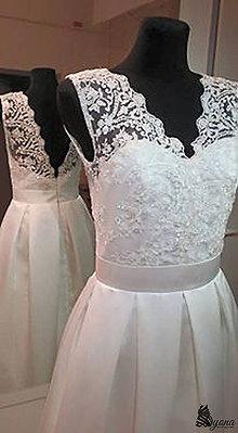Šaty - Svadobné šaty v retro štýle s korálkovou krajkou - 5470744_