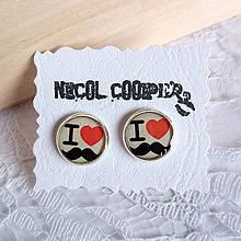 Náušnice - i love moustache - 5471507_