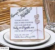 Papiernictvo - Prírodné svadobné oznámenie - glitrové srdiečka - 5476581_