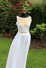 370669d53172 Šaty - MAĽBA na dlhé biele so zlatou maľbou... - 5475847