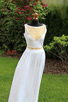 Šaty - MAĽBA na dlhé biele so zlatou maľbou... - 5475847_
