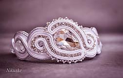 Náramky - Svadobný šujtášový náramok - skladom v bielej - 5478691_