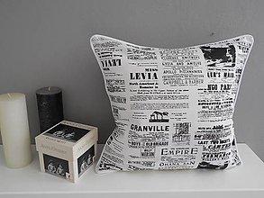 Úžitkový textil - vankúš vzor čierno-biely - 5480183_