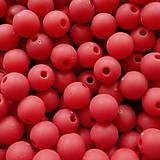 Korálky - Plast MATT 8mm-20ks (červená) - 5481535_