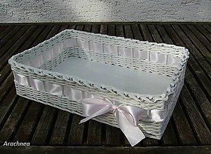Dekorácie - Svadobný košíček 30x22x9 cm (svetlo ružová) - 5483064_