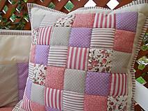 patchwork obliečka 40x40 cm béžovo - fialovo - staroružová