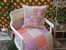 prehoz patchwork deka béžovo-fialovo-staroružová 200*200