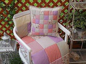 Úžitkový textil - prehoz patchwork deka béžovo-fialovo-staroružová 200*200 - 5481854_