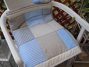 Úžitkový textil - prehoz patchwork deka 140 x 200 cm sivo - béžovo -modrá - 5481956_