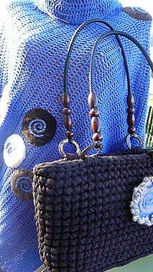 Iné oblečenie - Modrá a hnedá sa majú rady ... pončo a taška na želanie - 5481664_