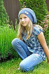 Detské čiapky - Modrá čiapka pre školáčku - 5487815_