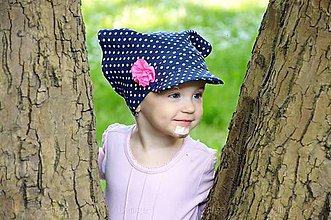 Detské čiapky - šatka tmavomodrá s bodkami - 5488226_