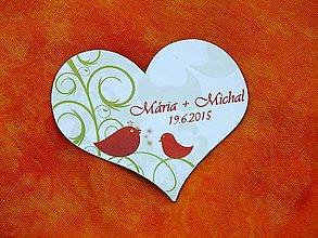 Magnetky - Srdce vtáčiky - 5487581_