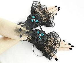 Náramky - Gothic čierno tyrkysové náramky na ruky s čipkou 014 - 5491677_