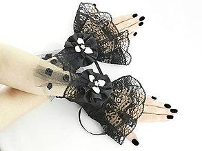 Náramky - Gothic čierno bielé náramky na ruky s čipkou 014 - 5491733_