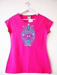 Tričká - VÝPREDAJ - tričko ružové s folk motívom - S - 5489854_