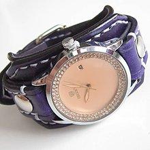 Náramky - Dámske kožené hodinky fialové - 5488561  092dbbdfcbb