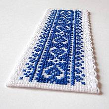 Papiernictvo - Na ľudovú nôtu - záložka modrá - 5489454_