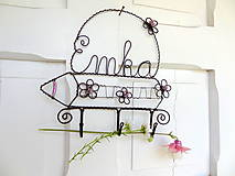 Dekorácie - rozkvitnutá pastelka...vešiak s menom do detskej izby - 5493643_