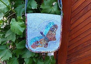 Kabelky - s motýľom modrá - 5494470_