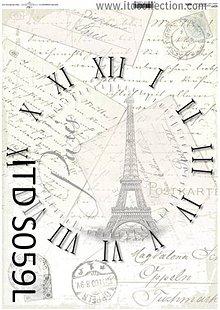 Papier - dekupáž papier soft hodiny Paríž - 5494531_