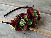 - čelenka *vínovo-červená so zelenými ružičkami* - 5494213_