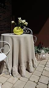 Úžitkový textil - Okrúhly ľanový obrus s volánom - 5494797_