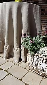 Úžitkový textil - Okrúhly ľanový obrus s volánom - 5494798_