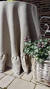 Úžitkový textil - Okrúhly ľanový obrus s volánom - 5494800_