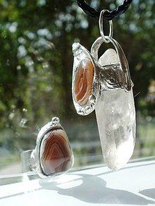 Sady šperkov - Achátik s krištáľom-set-prívesok,prsteň - 5496530_