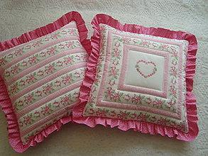 Úžitkový textil - Volánikové vankúšiky - ružové - 5496118_
