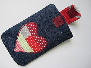 Úžitkový textil - Obal na mobil-srdiečko - 5497872_