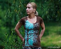 Tričká - Dámske tričko batikované a maľované TYRKYSOVÁ HLADINA - 5495839_