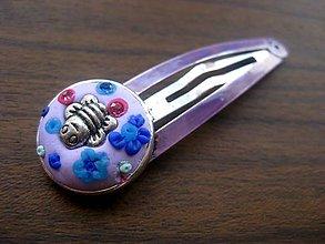 Ozdoby do vlasov - ZDARMA Pukačka s ručne modelovaným vzorom (Včielková sponka -  č.190) - 5496350_
