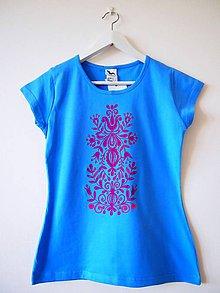 Tričká - VÝPREDAJ - tričko modré s ružovou maľbou - S - 5499349_