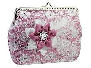 Kabelky - Čipková kabelka růžovo biela  001A - 5502022_